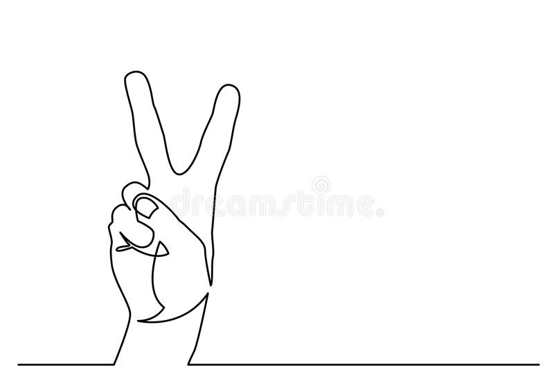 Continuous line drawing of hand showing victory sign royalty free illustration
