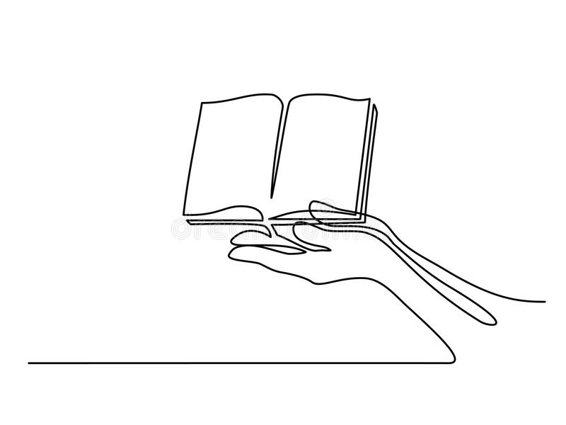 Hands palms together with opened book royalty free illustration