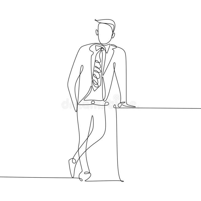 Continuous line drawing of handsome businessman standing looks great and charming vector illustration
