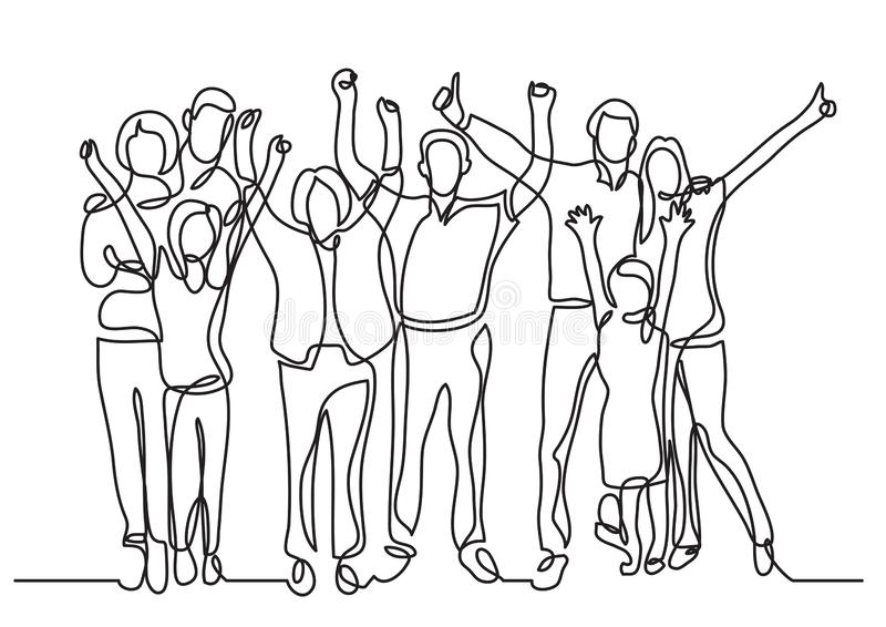 Continuous line drawing of happy big family cheering royalty free illustration