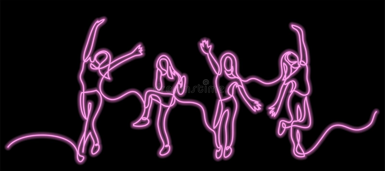 Continuous line drawing of happy cheering team of girls with neon vector effect vector illustration