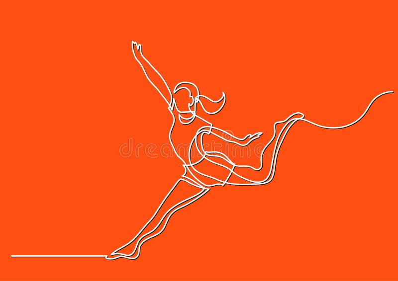 Continuous line drawing of happy woman dancing. Vector linear illustration vector illustration