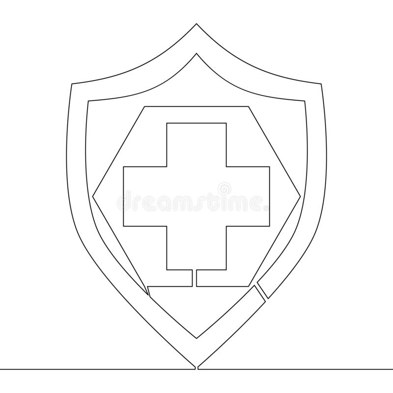 Continuous line drawing health protection concept. Continuous one single line drawing health protection icon vector illustration concept vector illustration