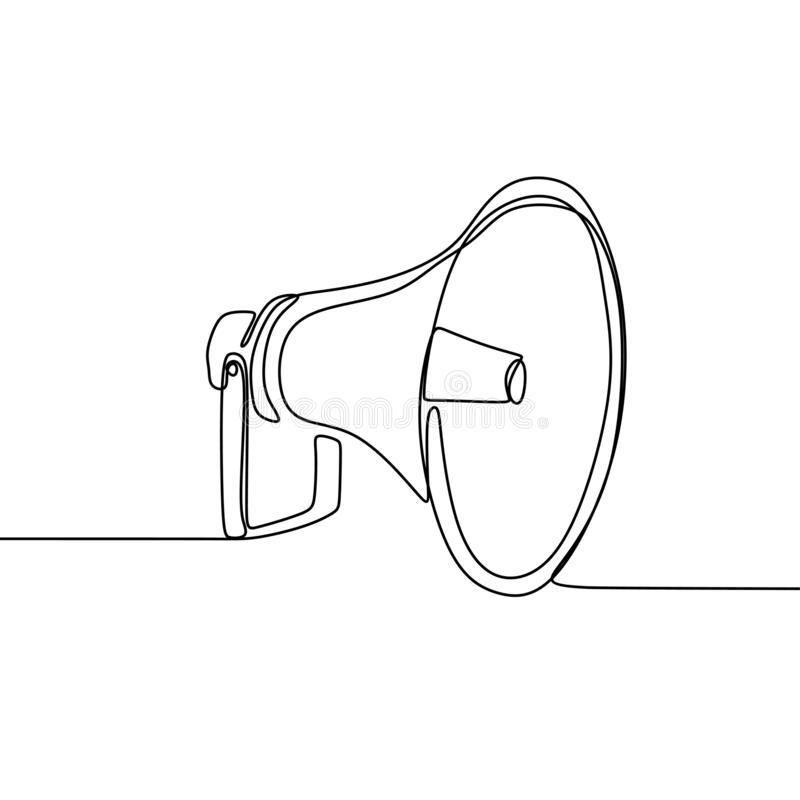 Continuous line drawing of horn speaker sign and symbol for announcement and employee hiring. Illustration, megaphone, concept, isolated, vector, sound, hand stock illustration