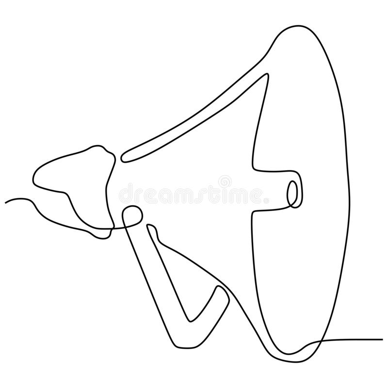 Continuous line drawing of horn speaker sign and symbol for announcement and employee hiring. Illustration, megaphone, concept, isolated, vector, sound, hand royalty free illustration