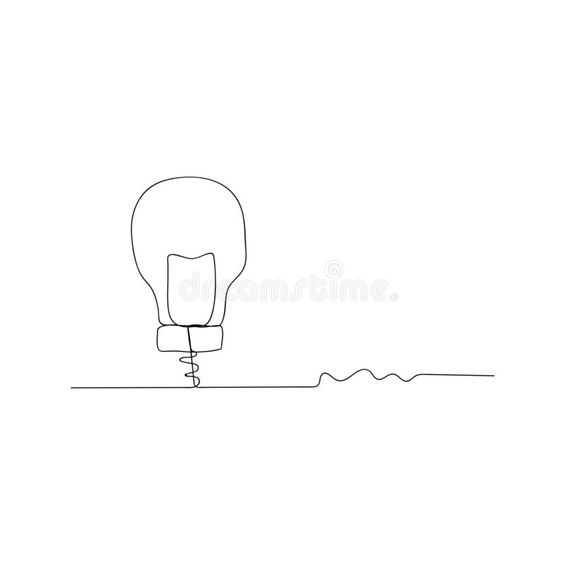 continuous line drawing of idea with lightbulb. isolated sketch drawing of idea with lightbulb line concept. outline thin stroke stock illustration