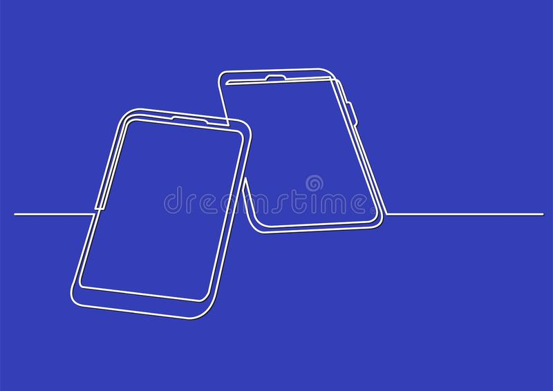 Continuous line drawing of isolated vector object - two mobile phones stock illustration