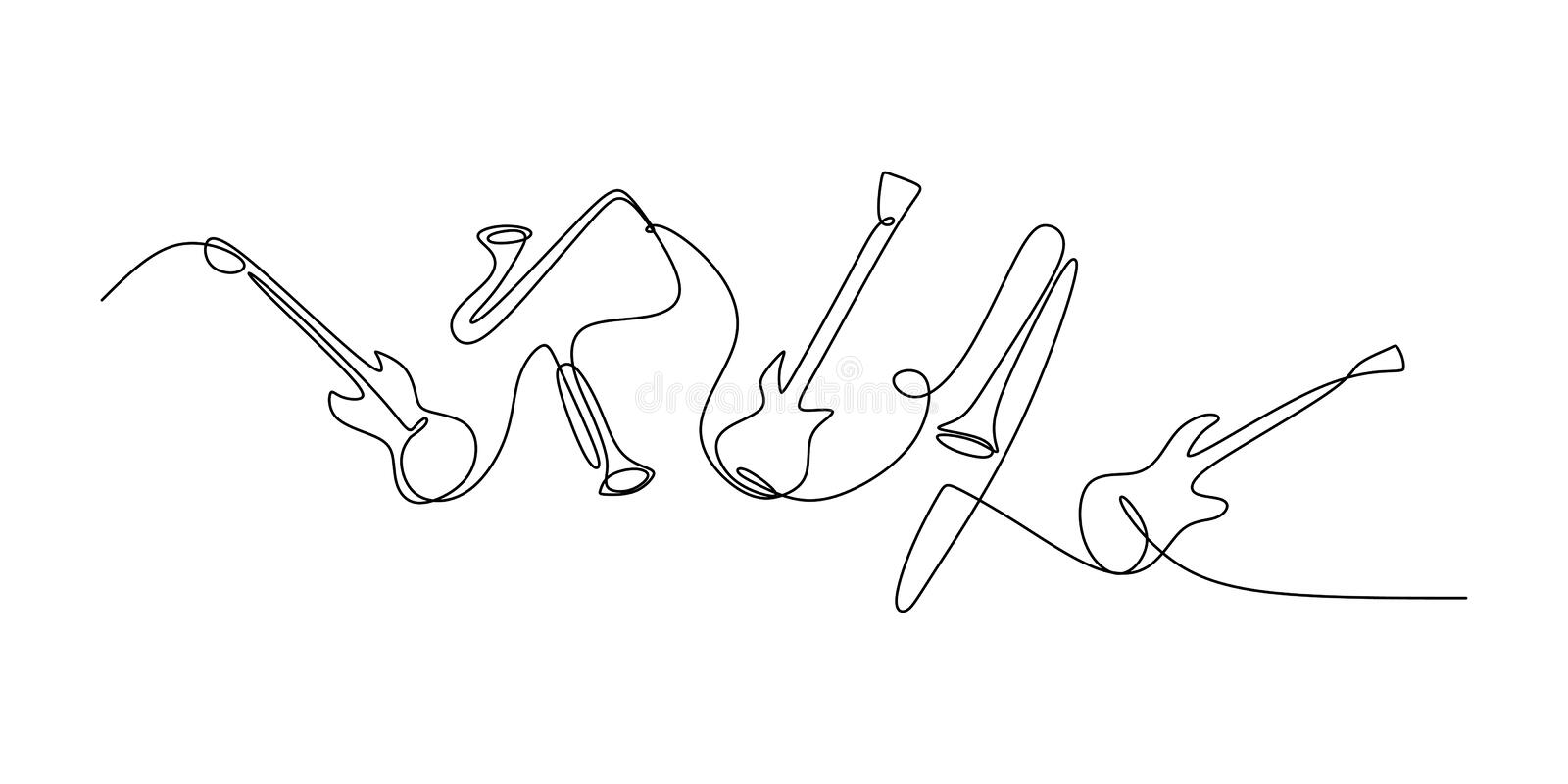 continuous line drawing of jazz instrument. Musical tools of electric guitar, trumpet, violin, bass, and saxophone vector illustration