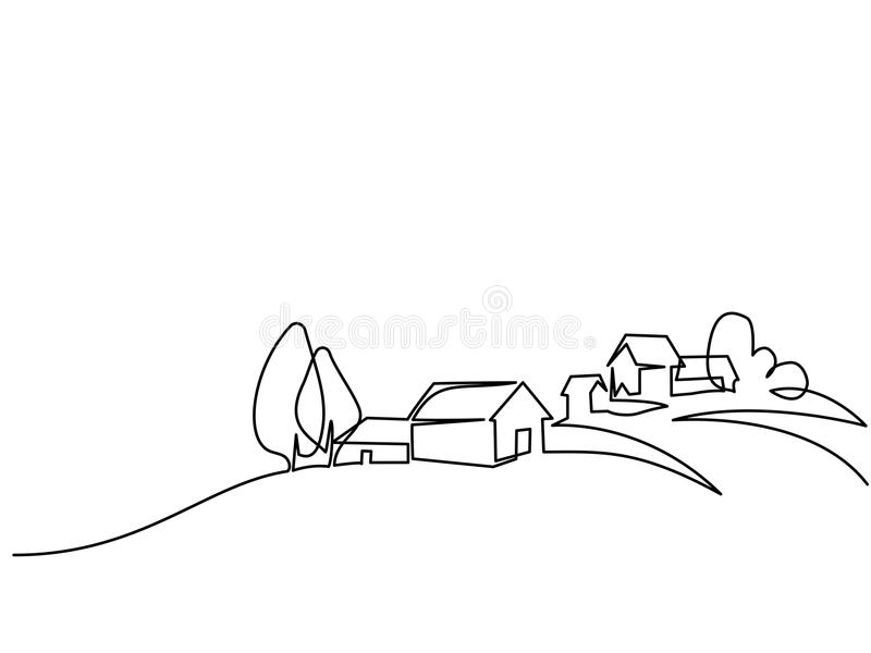 Landscape with village on hill. Continuous line drawing. Landscape with village on hill. Vector illustration. Concept for logo, card, banner, poster, flyer stock illustration