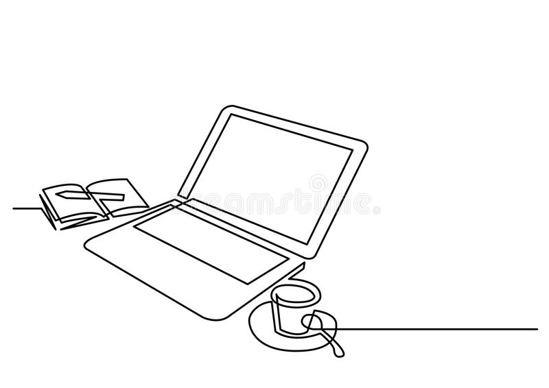 Continuous line drawing of laptop computer coffee stock illustration