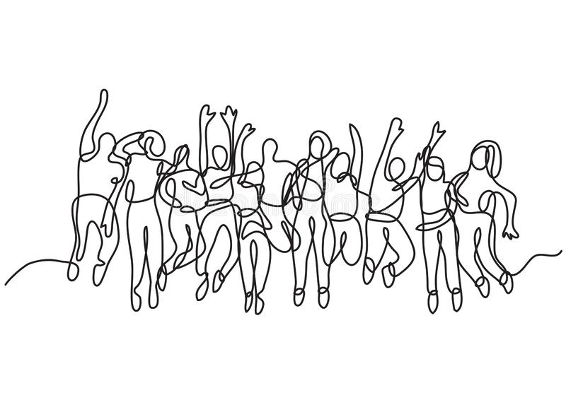Continuous line drawing of large group of jumping people stock illustration