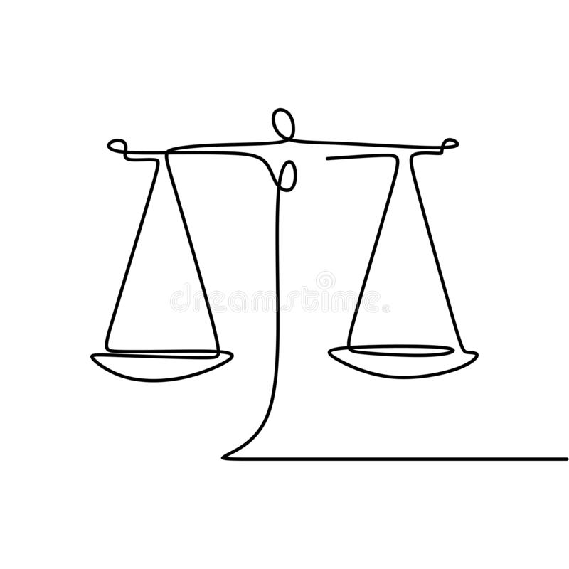 Continuous line drawing of law symbol of weight balance royalty free illustration