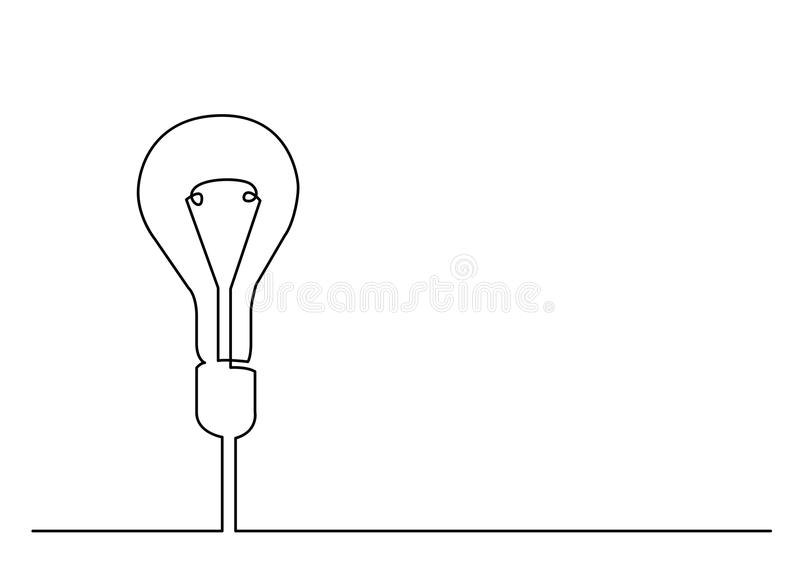 Continuous line drawing of light bulb or idea metaphor royalty free illustration