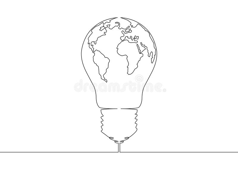 Continuous line drawing light bulb symbol idea world map globe download continuous line drawing light bulb symbol idea world map globe inside the lamp stock vector gumiabroncs Images