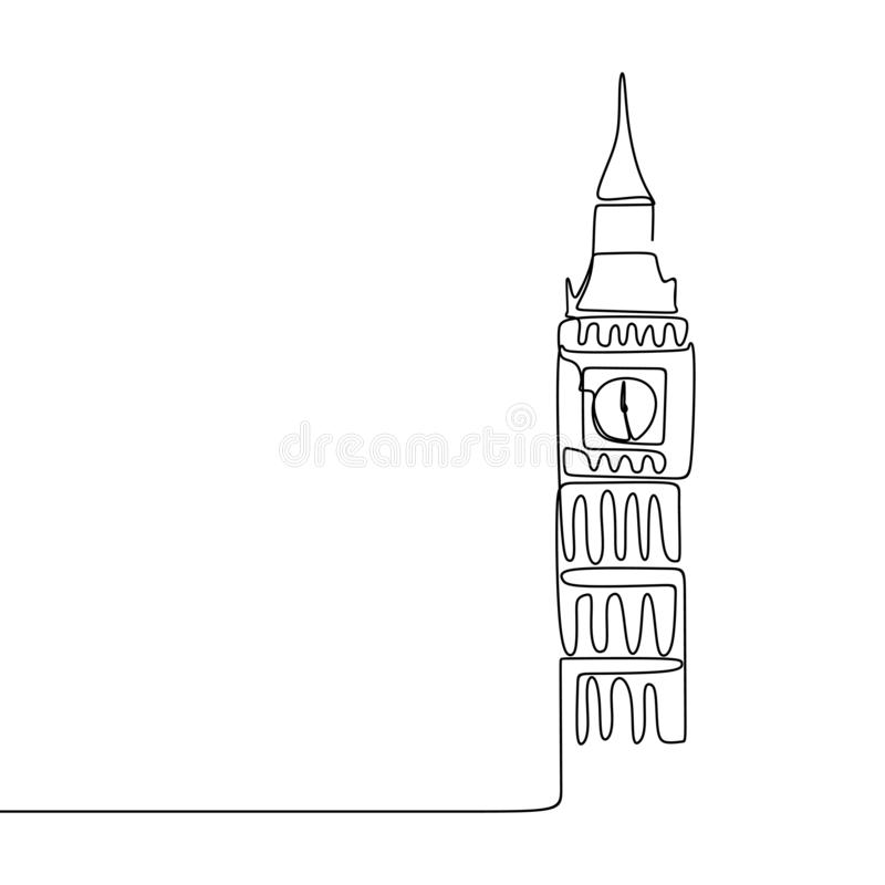 Continuous line drawing of London City of Westminster Big Ben clock tower. Illustration vector isolated sketch graphic linear art hand drawn simplicity concept royalty free illustration