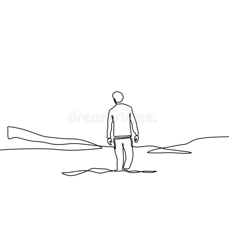Continuous line drawing of lonely man on valley minimalism design on white background. Concept of alone person in outdoor vector vector illustration
