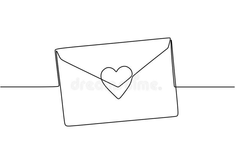 Continuous line drawing of Love letter with heart. Vector romantic mail for cards and invitation good for Valentine`s day theme vector illustration