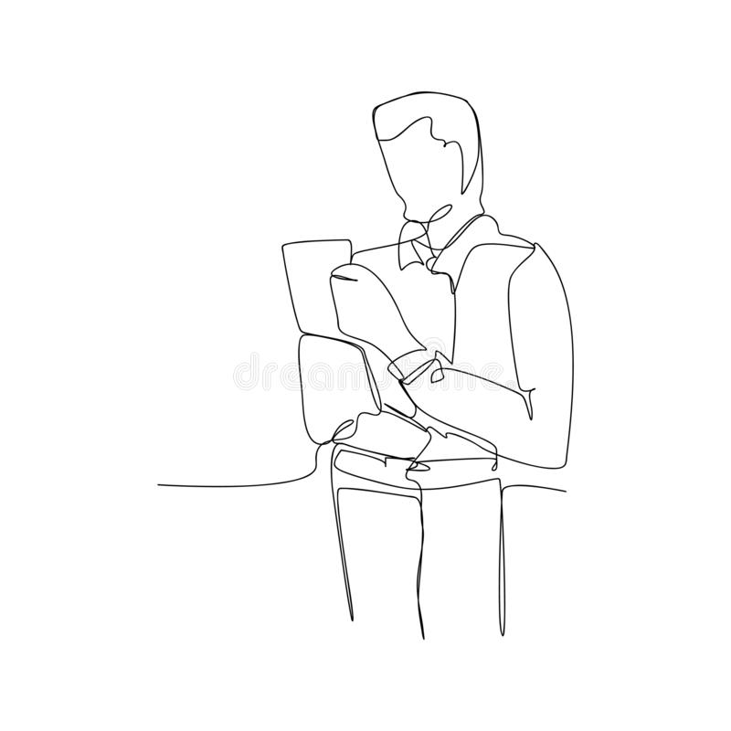 continuous line drawing of male worker standing. isolated sketch drawing of male worker standing line concept. outline thin stroke stock illustration