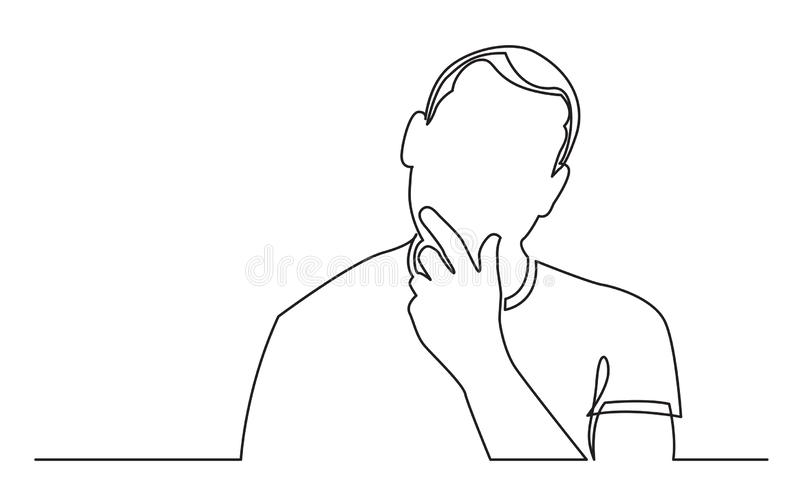 Continuous line drawing of man analyzing opportunities royalty free illustration