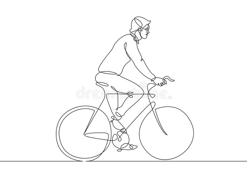 Continuous Line Drawing Man On A Bicycle Stock Vector Illustration Of Draw Icon 116443984