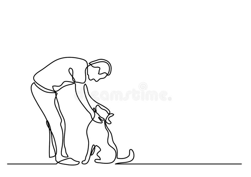 Continuous line drawing of man petting dog royalty free illustration