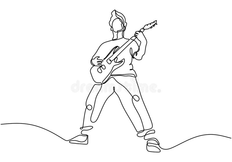 continuous line drawing of a man playing guitar. Man musician vector illustration.Single one hand drawn lineart minimalism stock illustration