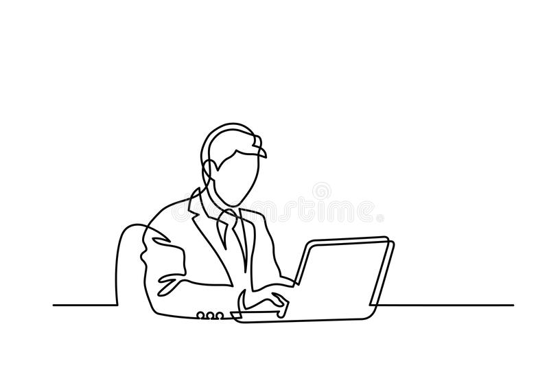 One line laptop. Continuous line drawing of man sitting behind laptop computer on white background.Vector illustration stock illustration