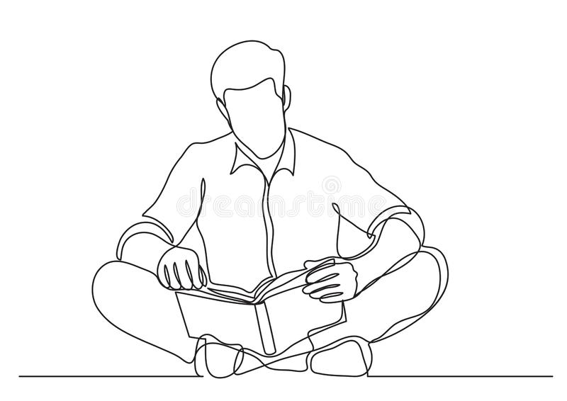 Continuous line drawing of man sitting on floor reading book stock illustration