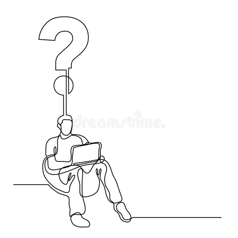 continuous line drawing of man sitting with laptop computer creating a question vector illustration