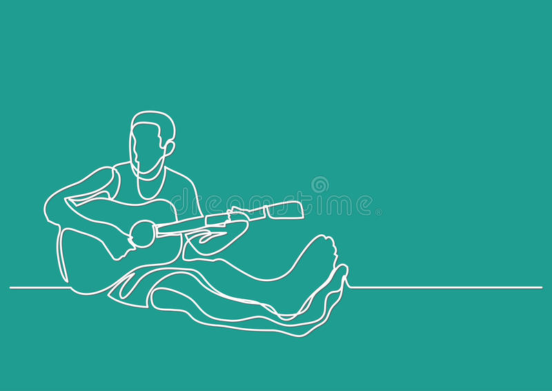 Contour Line Drawing Guitar : Continuous line drawing of man sitting playing guitar stock vector