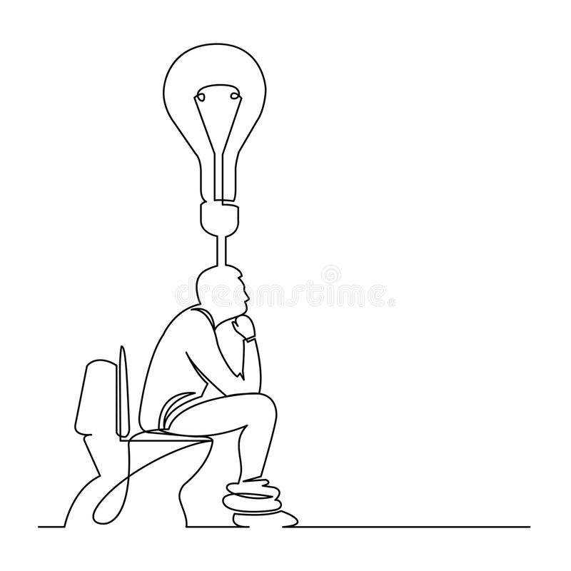 Line Drawing Toilet : Continuous line drawing of man sitting on toilet seat
