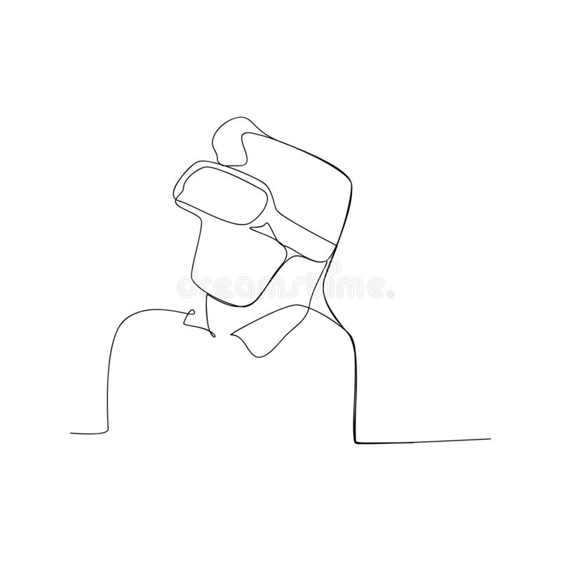Continuous line drawing of man with virtual reality glass. isolated sketch drawing of man with virtual reality glass line concept. Outline thin stroke vector stock illustration