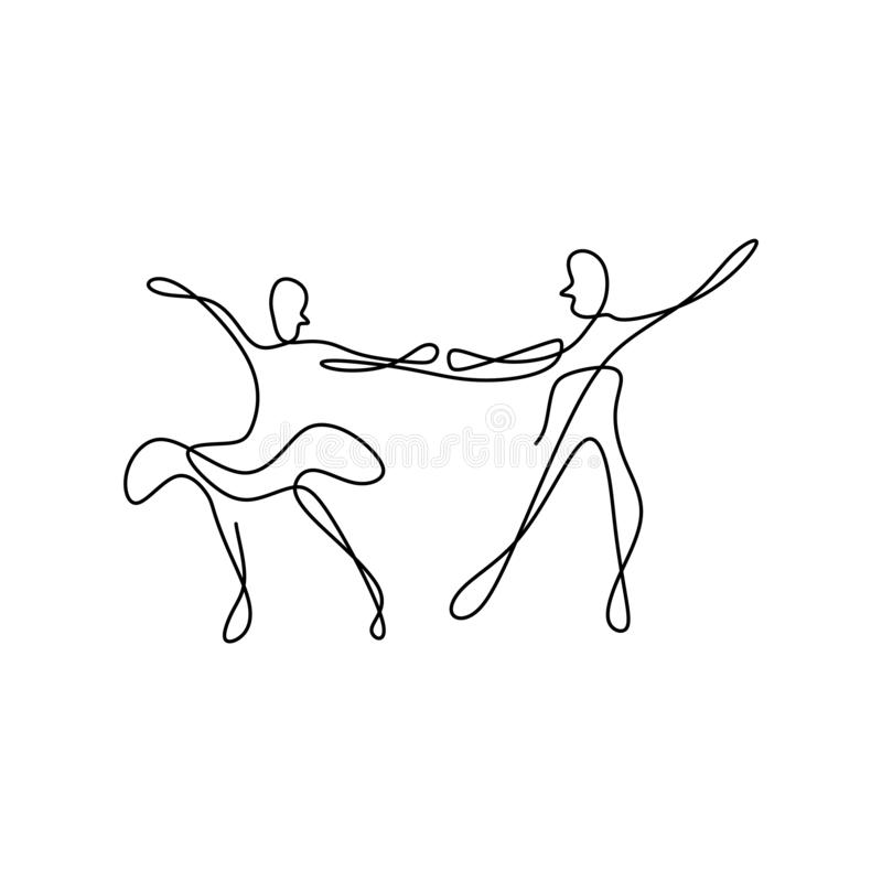 Continuous line drawing of a man and a woman are dancing. The concept of love in love vector illustration. Isolated, person, linear, people, sketch, happy, one vector illustration