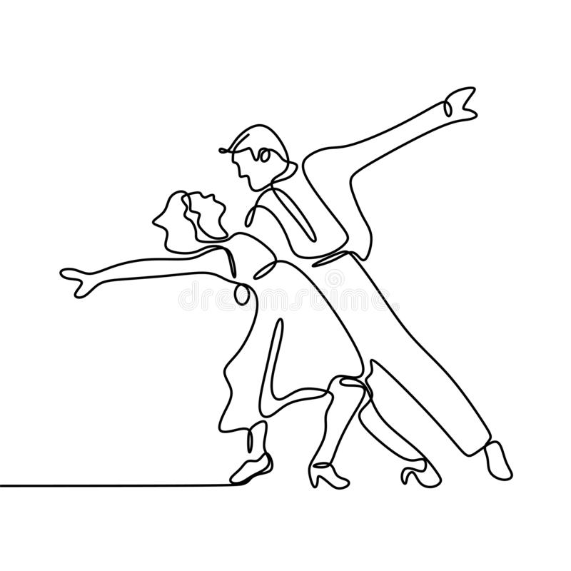 Continuous line drawing of a man and a woman are dancing. The concept of love in love vector illustration. Isolated, person, linear, people, sketch, happy, one stock illustration