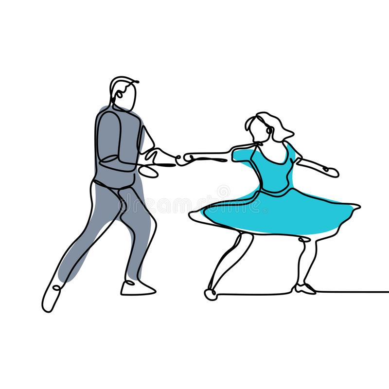Continuous line drawing of a man and a woman are dancing. The concept of love in love vector illustration. Isolated, person, linear, people, sketch, happy, one royalty free illustration