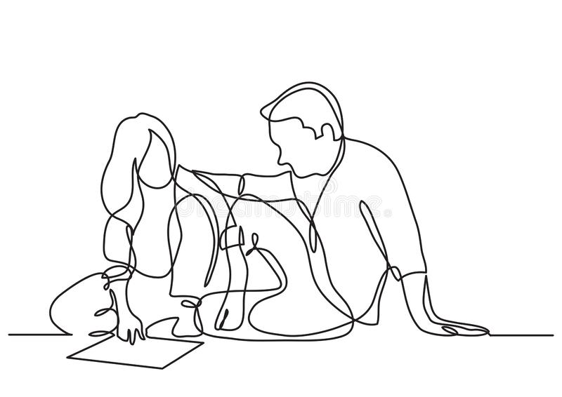 Continuous line drawing of man and woman sitting on the floor discussing plan royalty free illustration