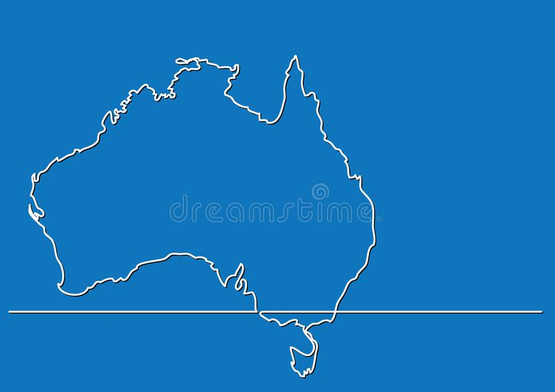 Continuous line drawing - map of Australia stock illustration