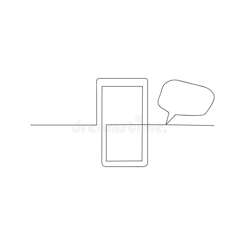 Continuous line drawing of mobile phone. isolated sketch drawing of mobile phone line concept. outline thin stroke vector. Illustration vector illustration