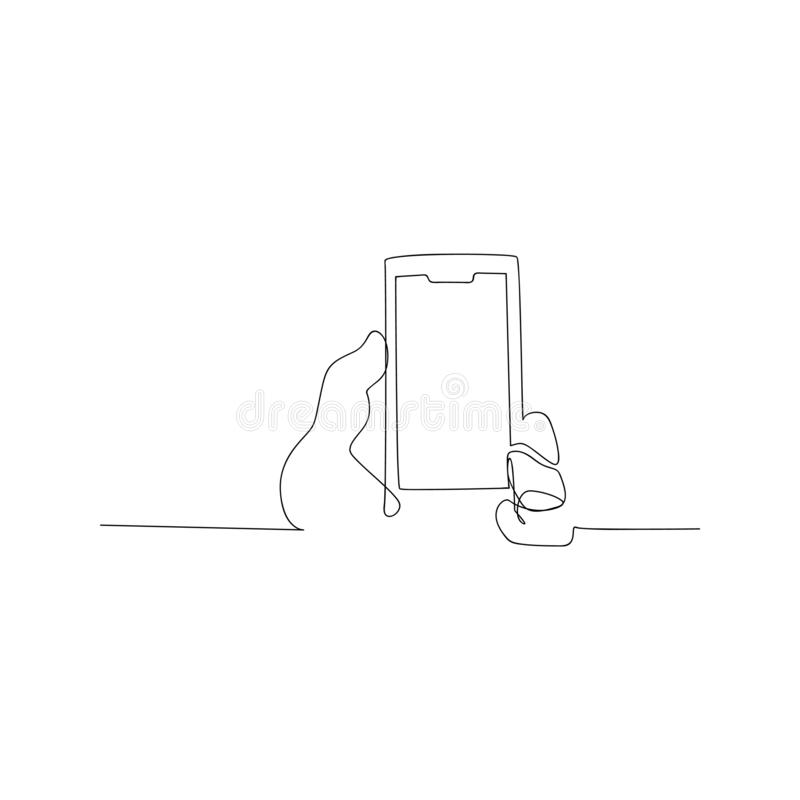 Continuous line drawing of mobile phone. isolated sketch drawing of mobile phone line concept. outline thin stroke vector. Illustration stock illustration