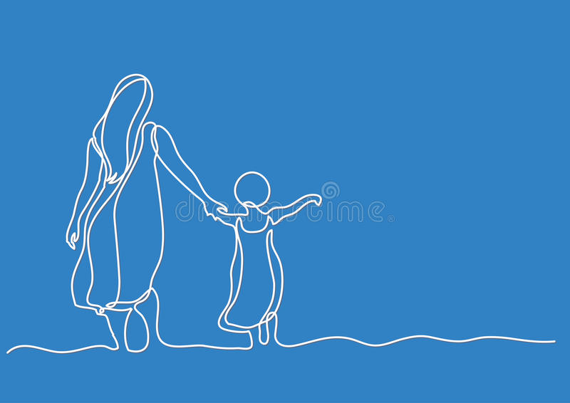 Line Drawing Editor : Continuous line drawing of mother and child in the sea