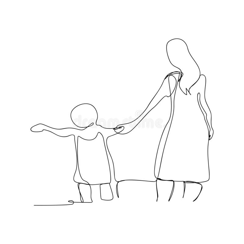 Continuous line drawing of mother and child walking. isolated sketch drawing of mother and child walking line concept. outline. Thin stroke vector illustration stock illustration
