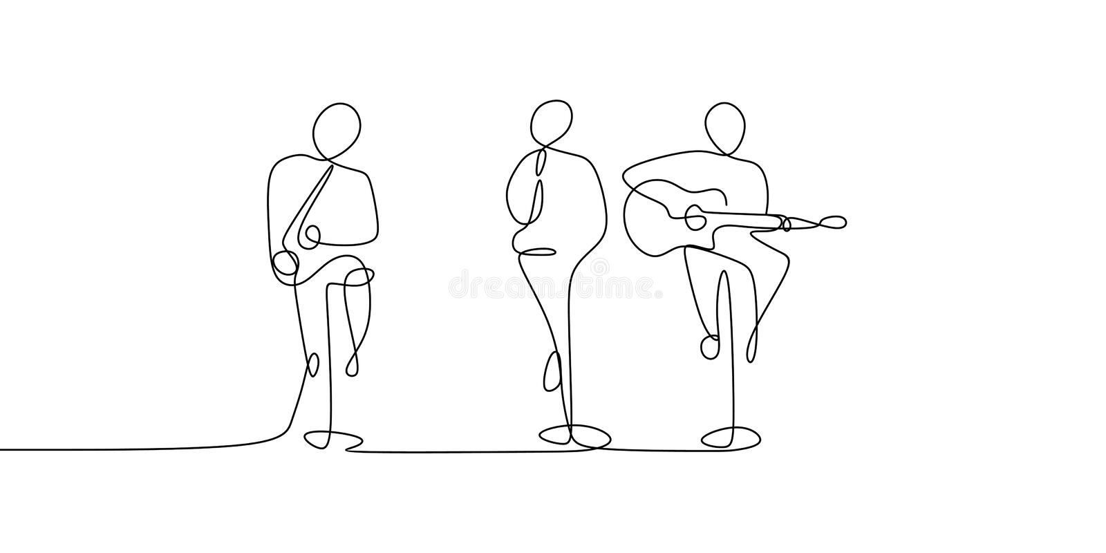 continuous line drawing of music concert performance with guitarist and singer royalty free illustration