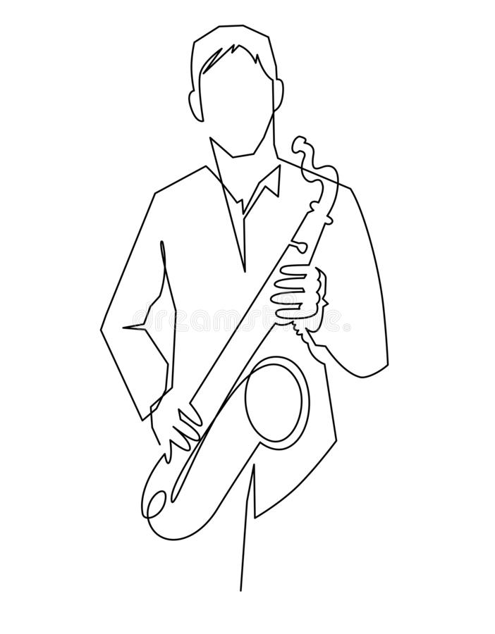 Continuous line drawing of musician plays saxophone vector illustration isolated on white. stock illustration