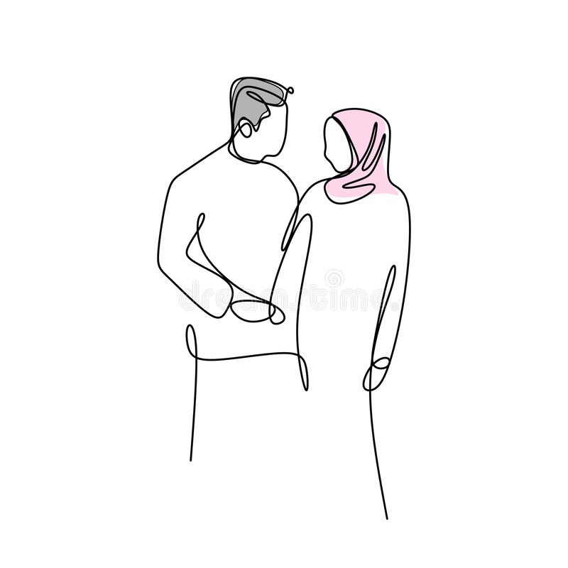 Continuous line drawing of muslim couple. Sketch love outline illustration romantic symbol vector woman sign people happy isolated lovers graphic human design vector illustration