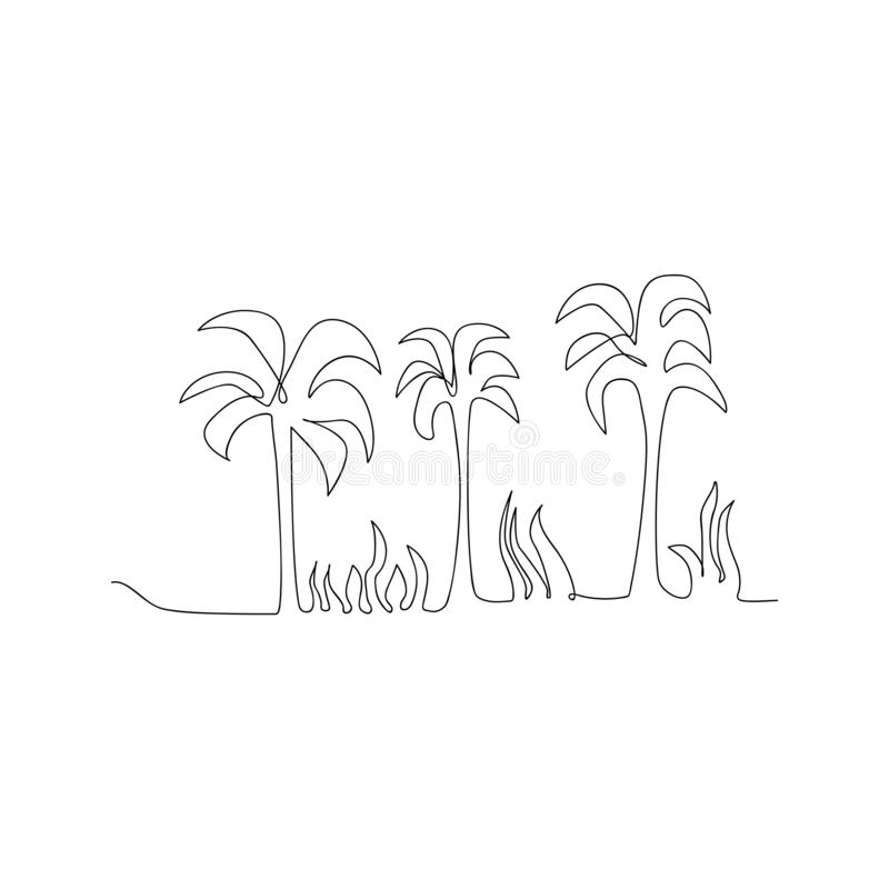 Continuous line drawing of natural coconut tree. isolated sketch drawing of natural coconut tree line concept. outline thin stroke. Vector illustration royalty free illustration
