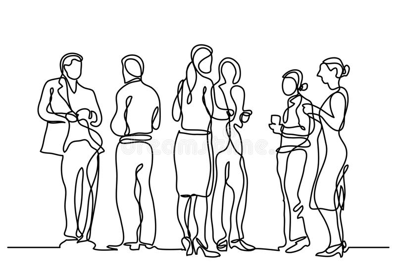 Continuous line drawing of office party royalty free illustration