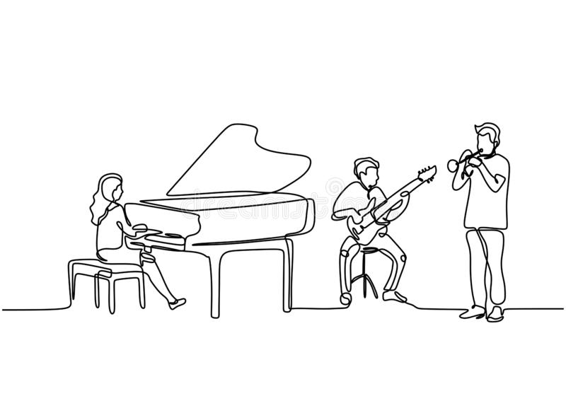 Continuous line drawing of orchestra music performance. Piano, guitar, and trumpet clarinet player. Musician artist concept single. Draw design vector royalty free illustration