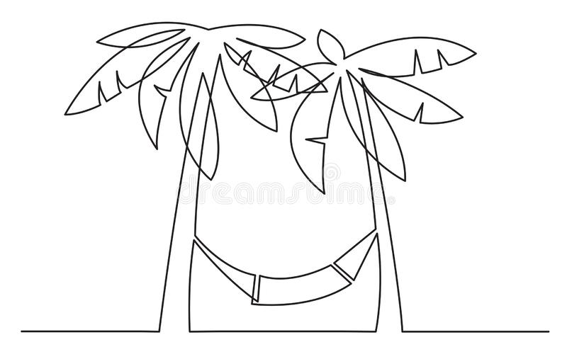 Continuous line drawing of palm trees and hammock stock illustration