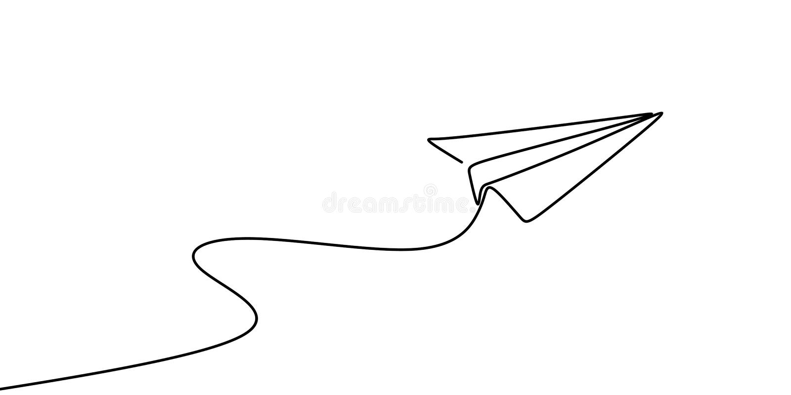 Continuous line drawing of paper plane vector illustration. Design vacation graphic outline icon isolated air art linear airplane sketch travel fly transport vector illustration