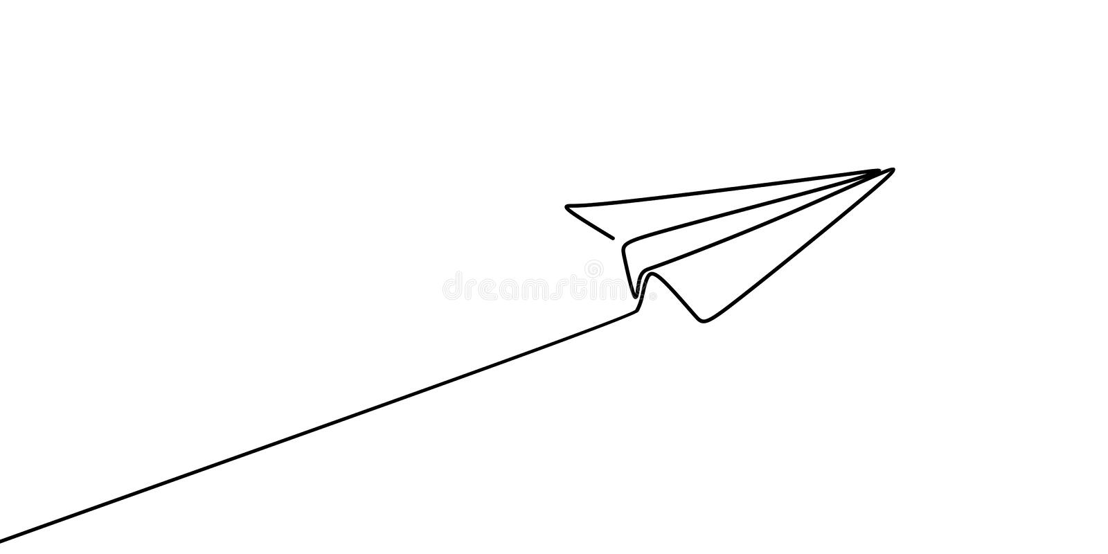 Continuous line drawing of paper plane vector illustration royalty free illustration